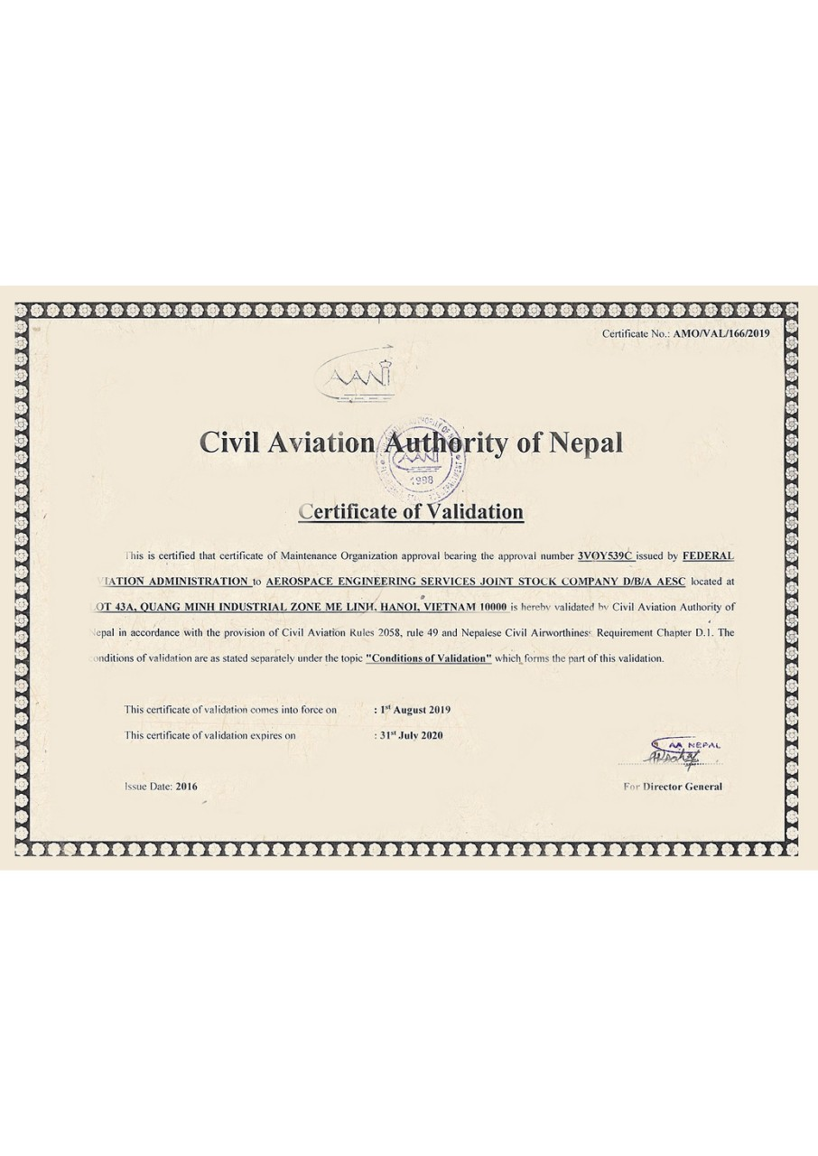 Nepal Maintenance Organization Approval Certificate