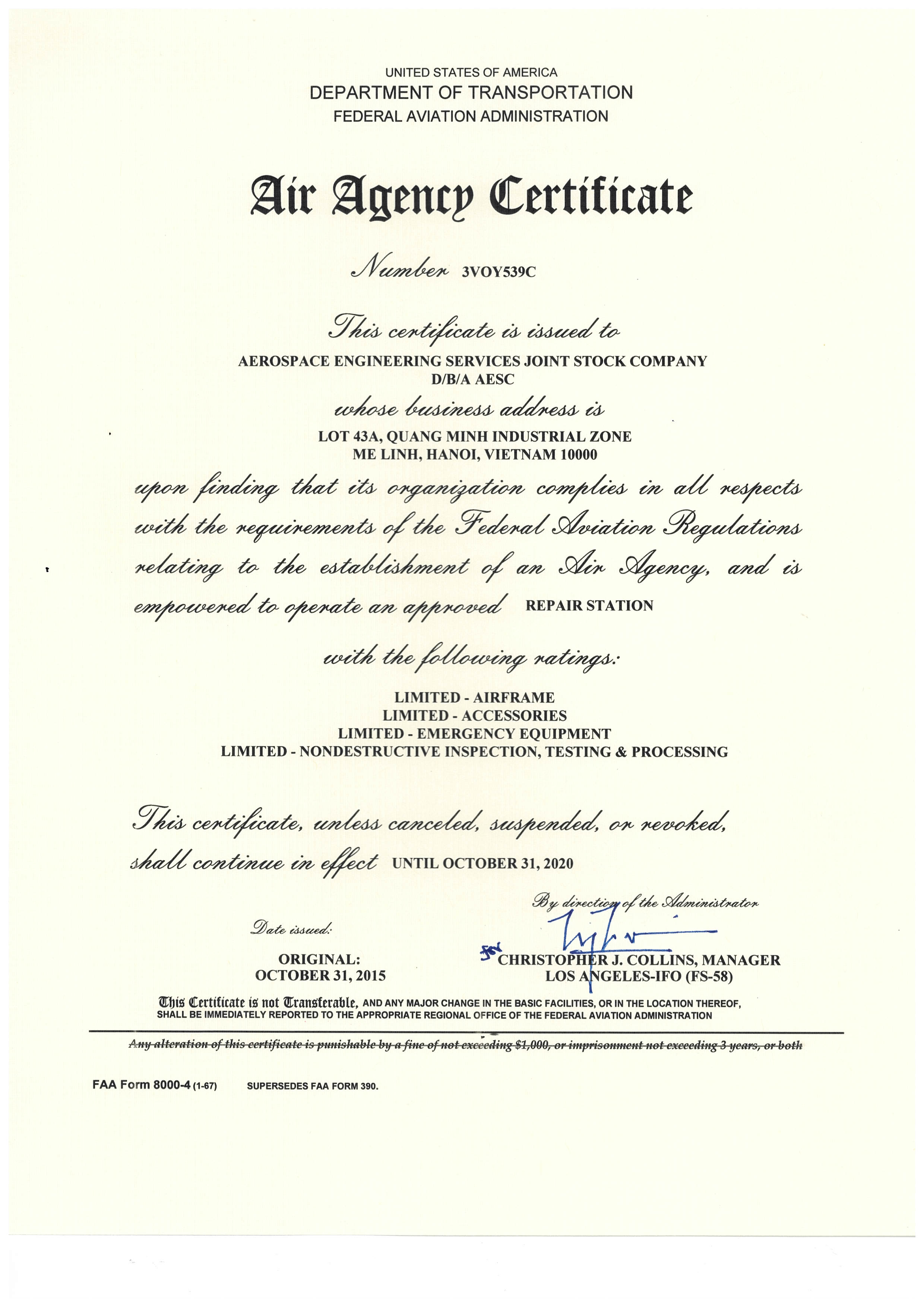 FAA Air Agency Certificate 3VOY539C Renewal