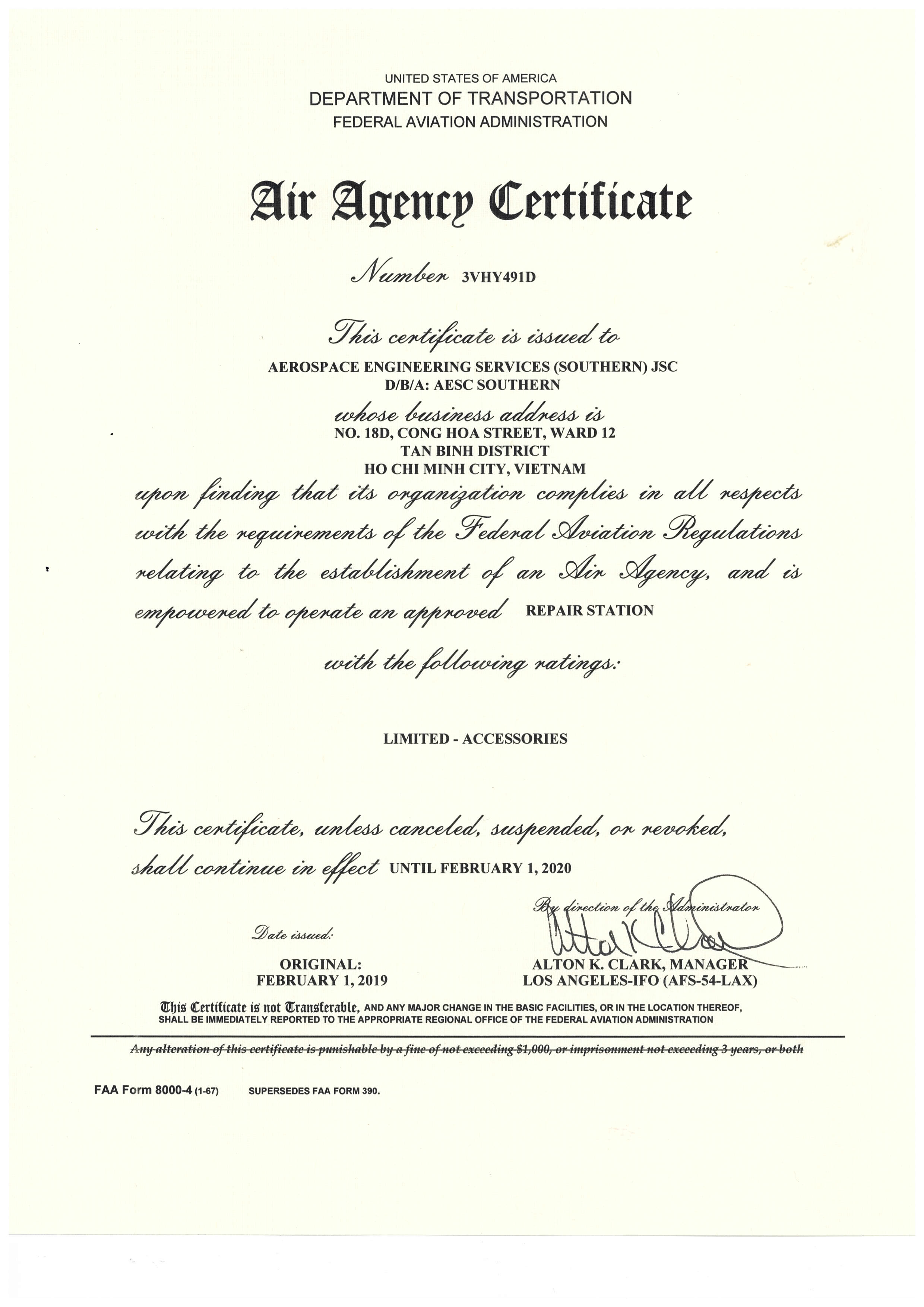 FAA Air Agency Certificate 3VHY491D