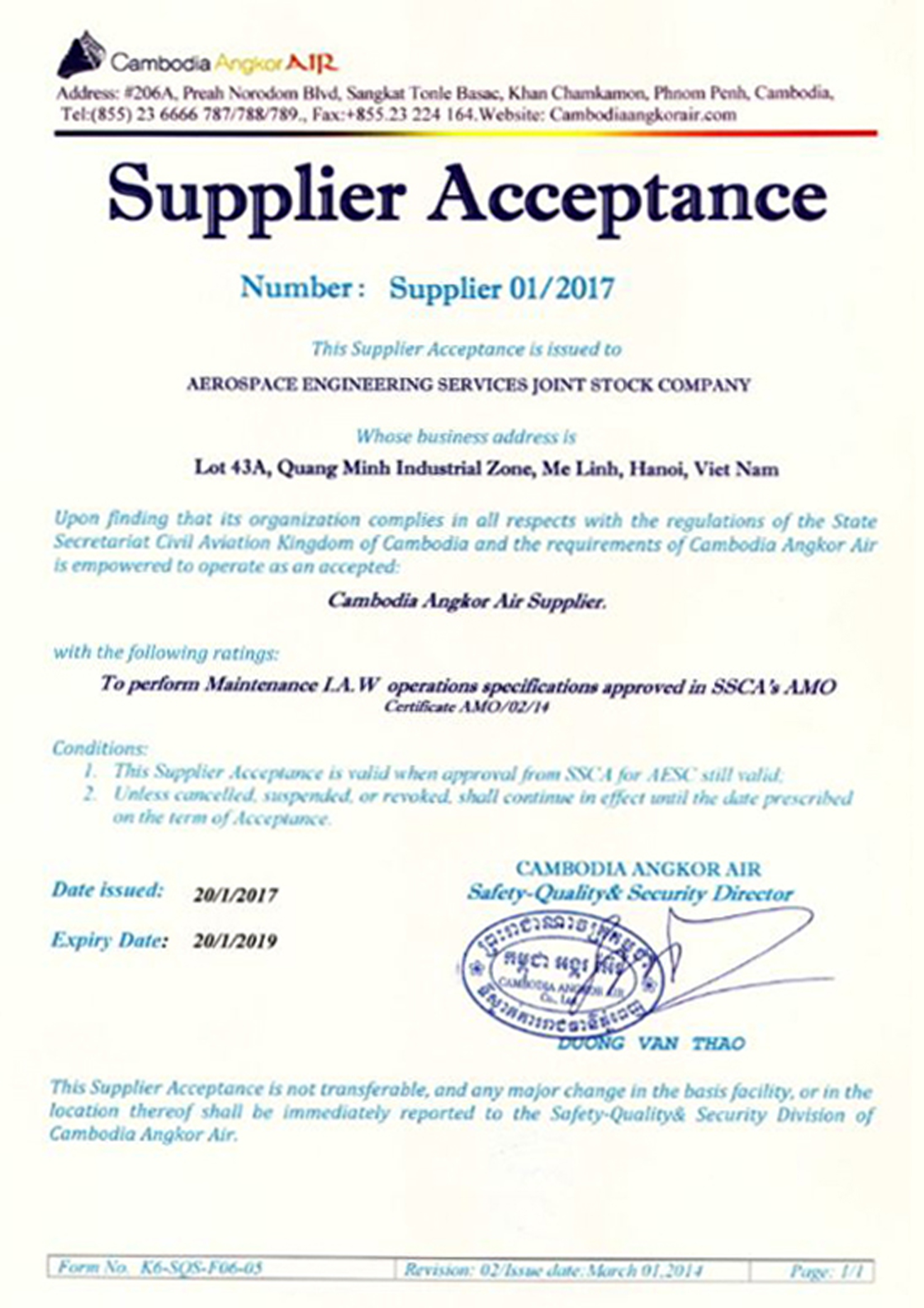 Cambodia Angkor Air Supplier Acceptance
