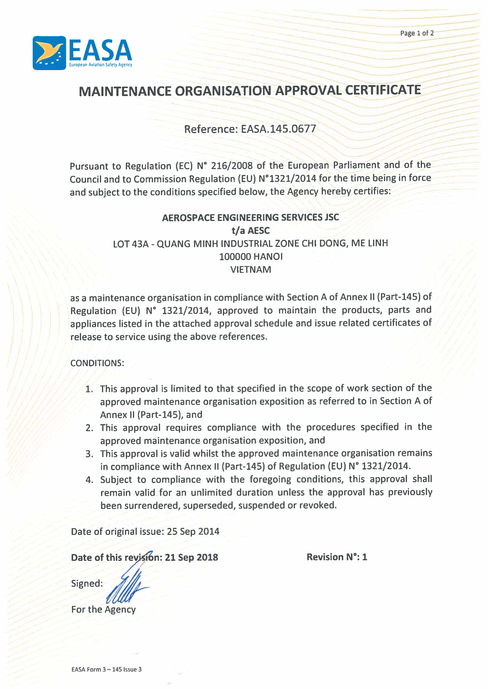 EASA Maintenance Organization Approval Certificate