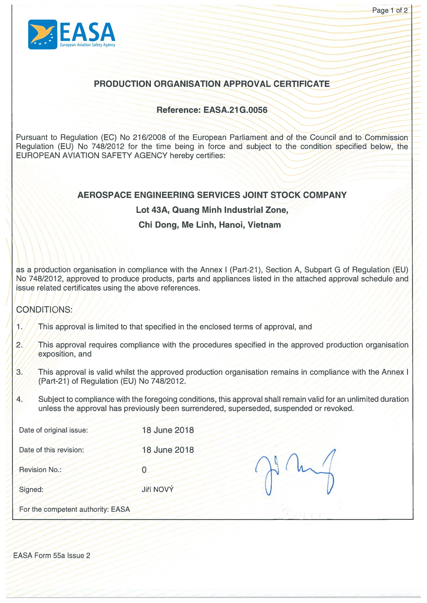 EASA Production Organisation Approval Certificate