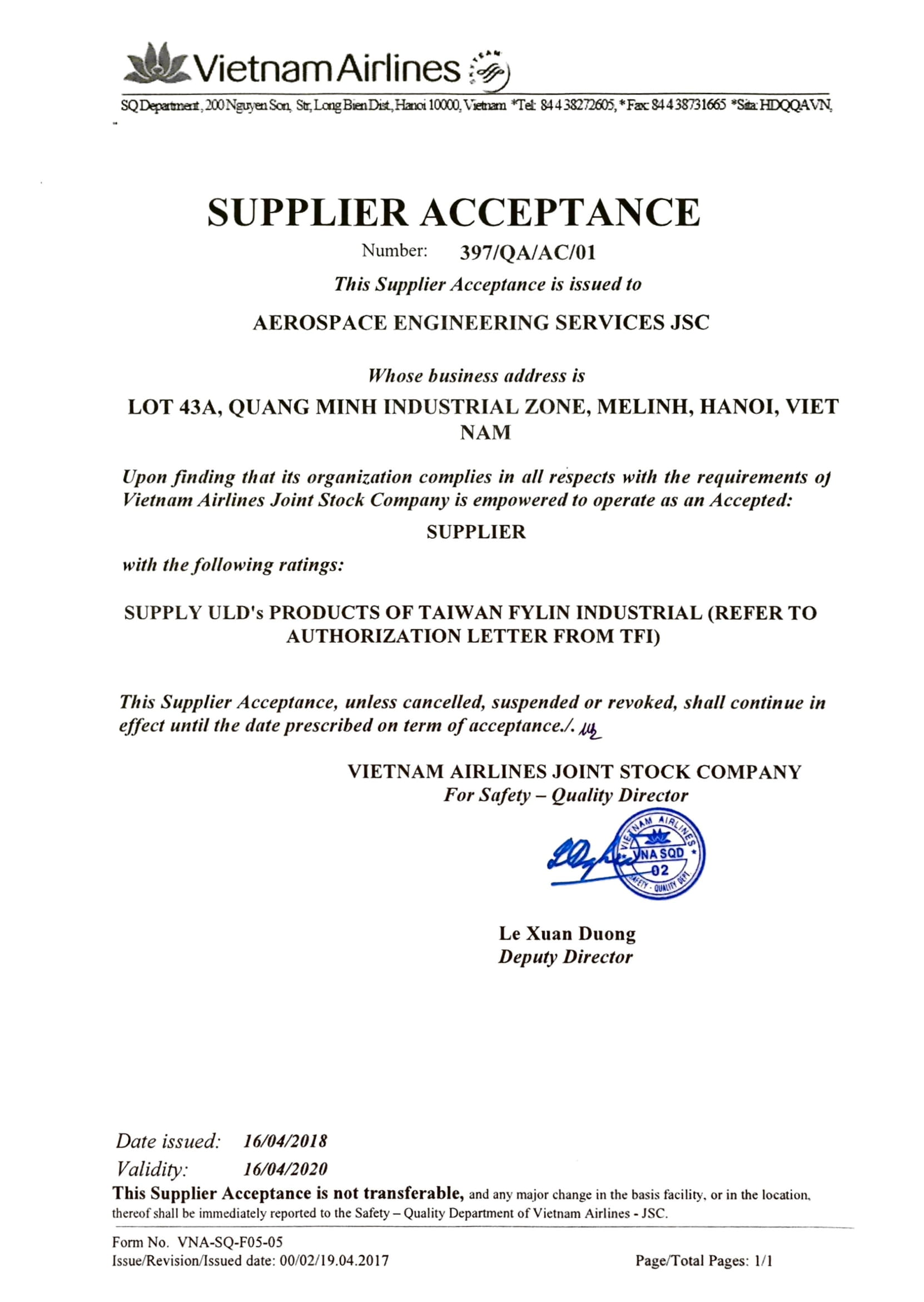 Vietnam Airlines Supplier Acceptance